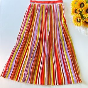 High Waisted Pleated Striped Midi Skirt Forever 21